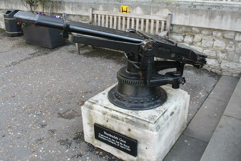 Nordenfelt gun, captured by the 2nd Bn Royal Fusiliers Gallipoli, 25 April 1915.