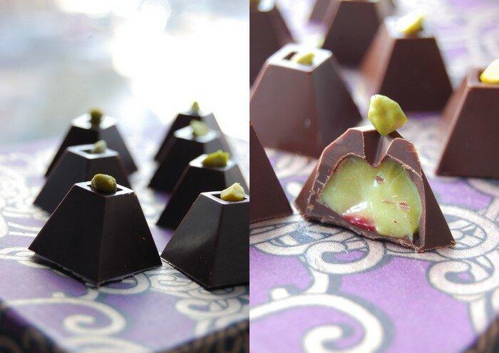 конфеты с фисташкой и вишней