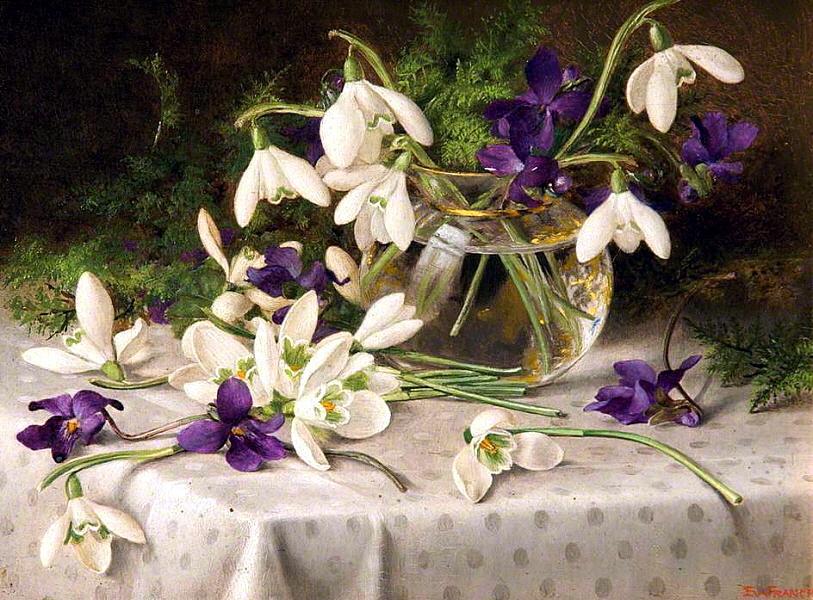 Eva Francis (British 1887-1924). Snowdrops and Violets 1903