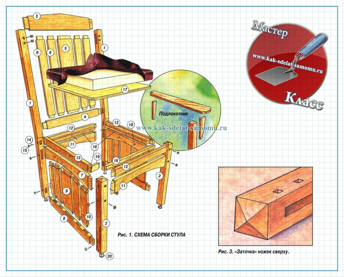 Схема стул из дерева своими руками чертежи