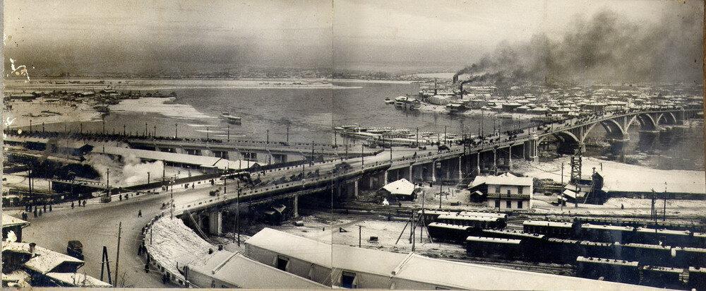 Общий вид железобетонного моста. Декабрь 1936г.