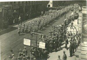 Парад немцев на главной улице, Петрковской, август-сентнябрь 1914 года
