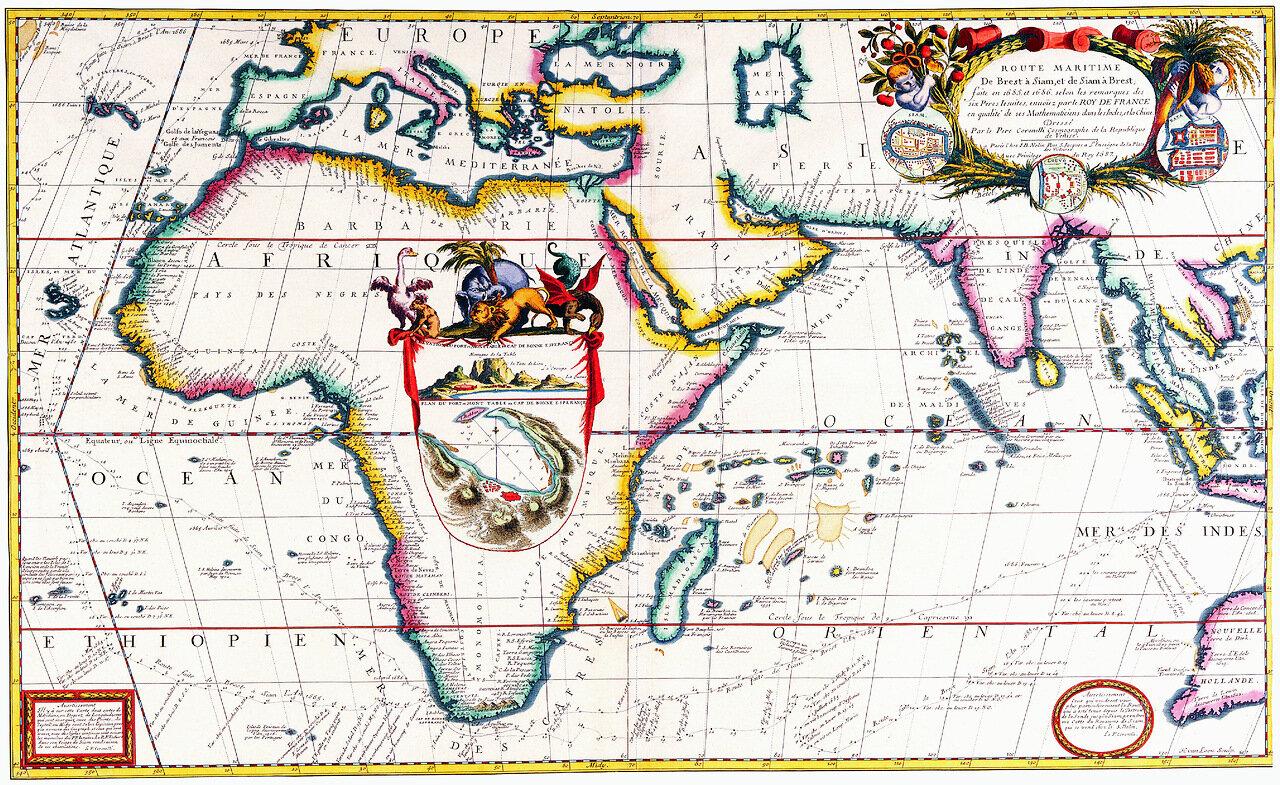 На ней отображены морские пути и порты Европы, Африки и Азии.  Не удивлюсь, если карта предназначена для...