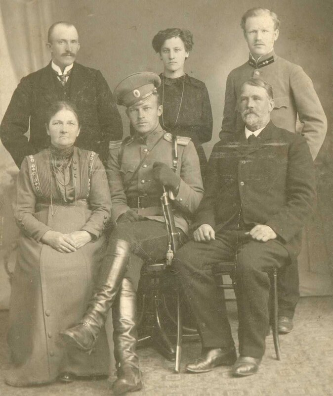 Portrait of a Cavalry Officer of the Russian Military and his family, Valmiera, 1910's. Photo by the studio of J. Sarkangalw.