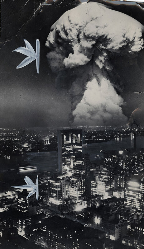 A photographic rendering of what an atomic blast in Brooklyn might look like from Manhattan