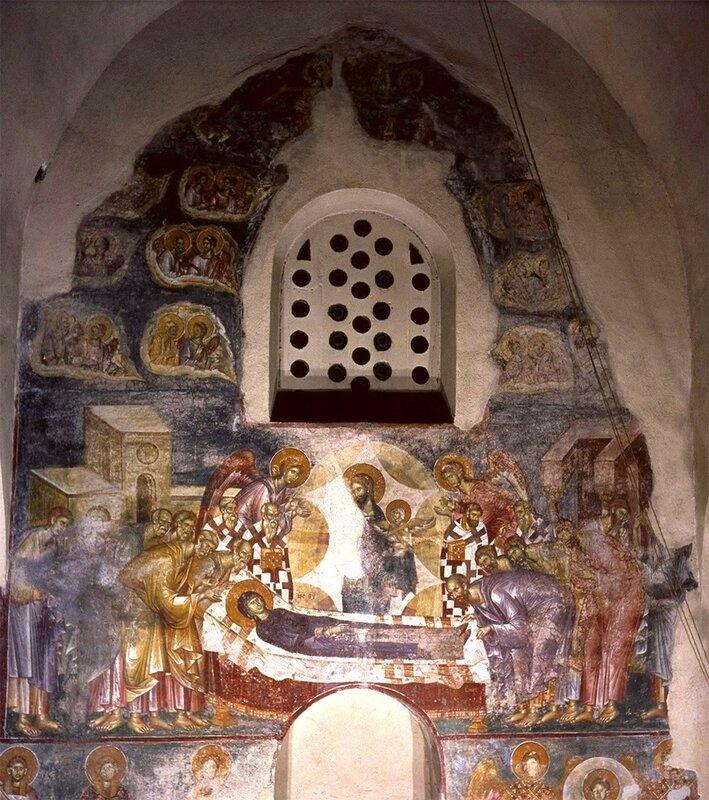 Успение Пресвятой Богородицы. Фреска монастыря Жича, Сербия. 1309 - 1316 годы.