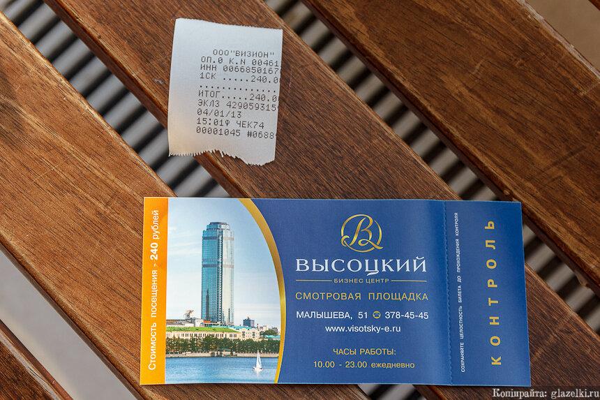 Смотровая БЦ Высоцкий. Входной Билет.
