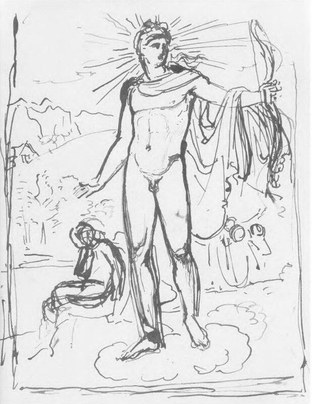 Апполон, поражающий Пифона. 1818-19. Эскиз. Б., тушь, перо. 31х22,6. ГРМ.jpg