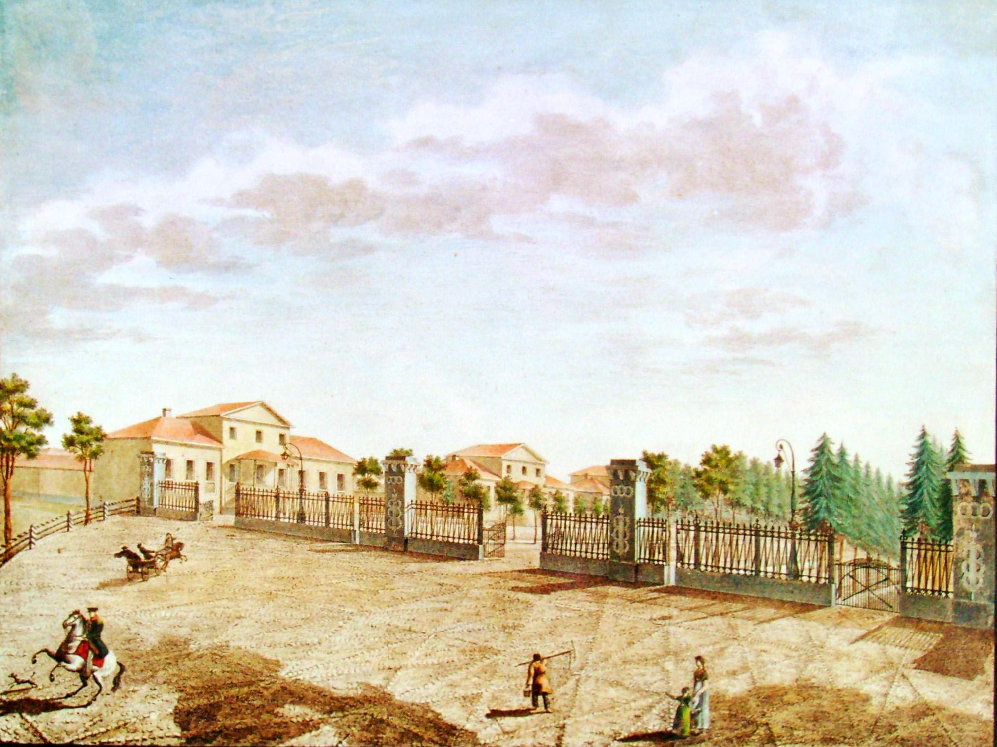 30. Вид площади с приезда в село Грузино по Тихвинской дороге. Р<исовал> Ар<хи-тектор> Семенов в 1823 году.