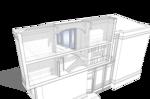 Разрез продольный по лестнице на второй этаж. Проект жилого кирпичного дома на одну семью, с площадью застройки по фундаменту 68 квадратных метров.