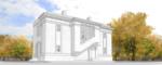 Крупнее. Второстепенный Фасад. Проект жилого кирпичного дома на полторы семьи, с площадью застройки по фундаменту 68 квадратных метров.