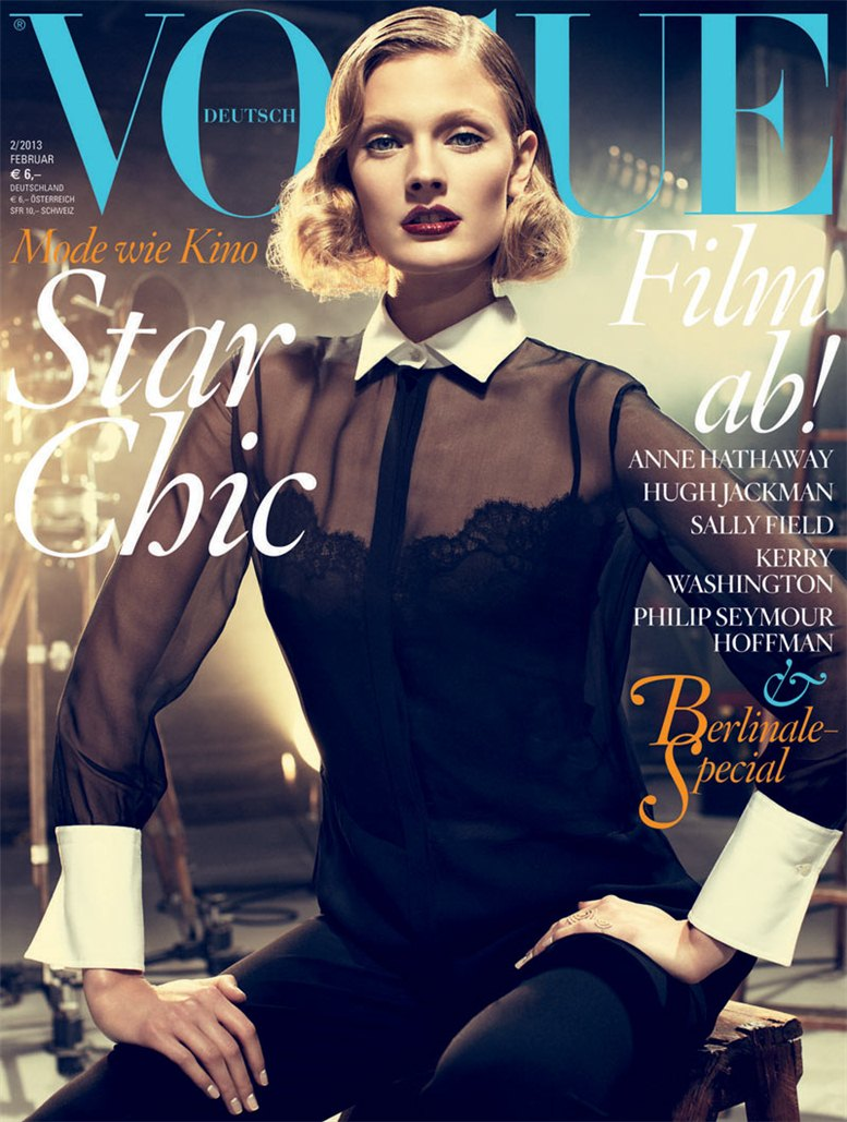 Constance Jablonski / Констанс Яблонски в роли ретро кинозвезды в немецком Vogue, февраль 2013 / фотограф Alexi Lubomirski