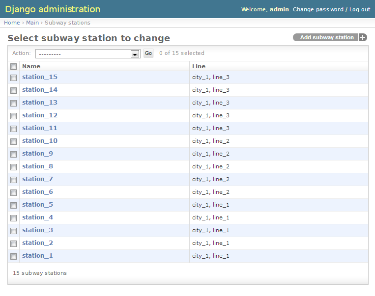 SubwayStation change list page