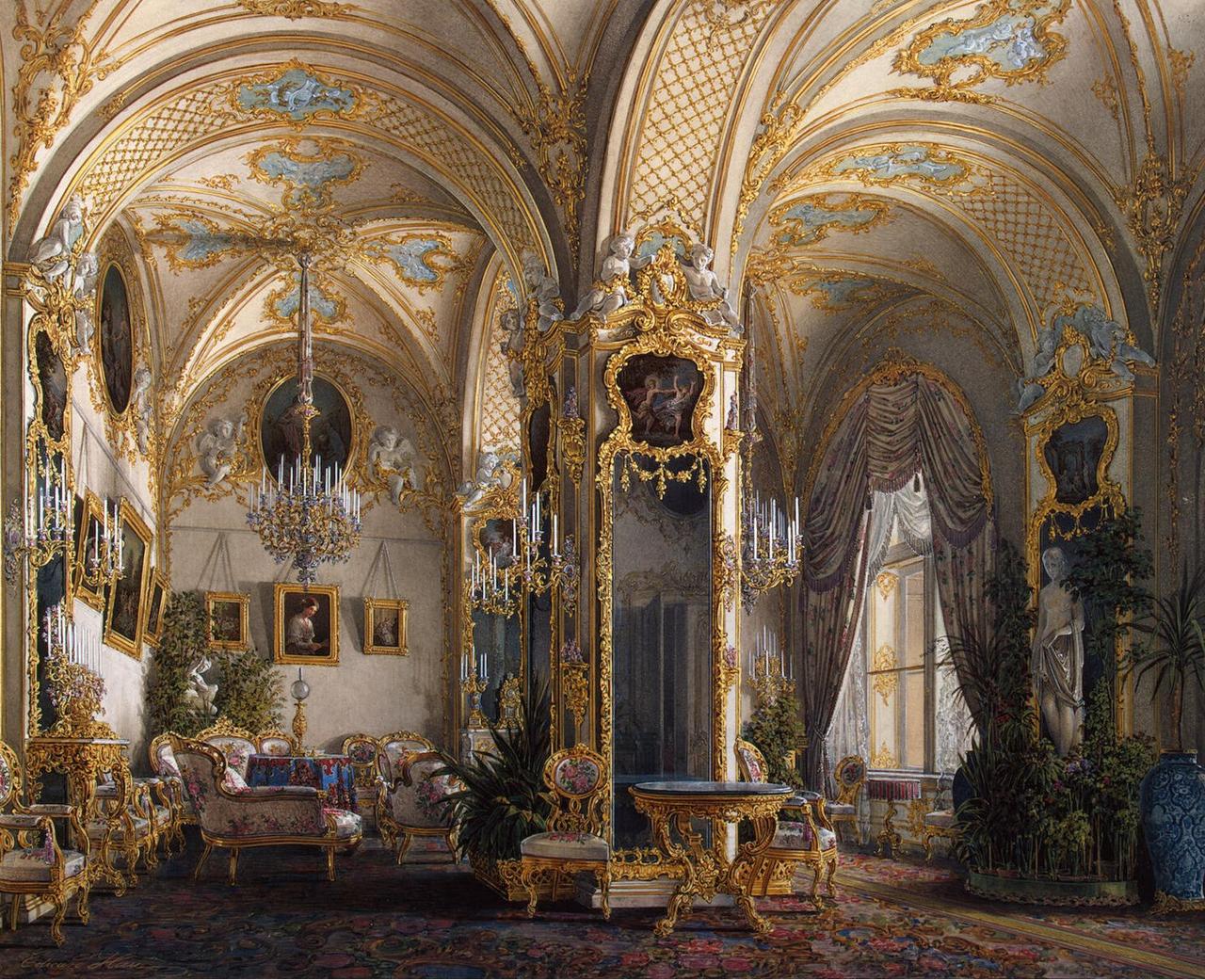Интерьеры Зимнего дворца. Гостиная в стиле рококо с амурами