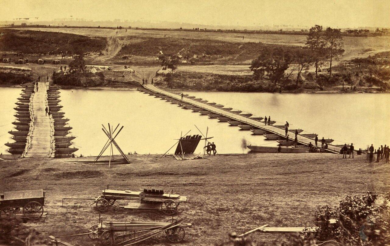 Понтонный мост через реку Рапаханок. Вирджиния. Май 1863 г.