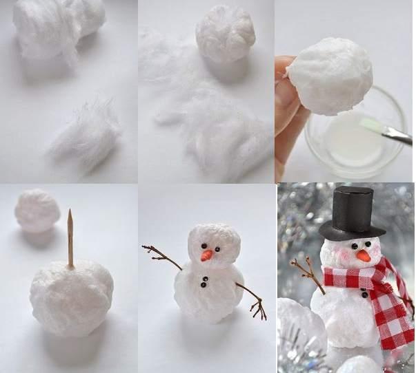 Снеговик своими руками из ваты и клея пва