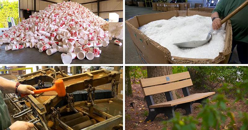 Парковые скамейки из использованной пластиковой посуды