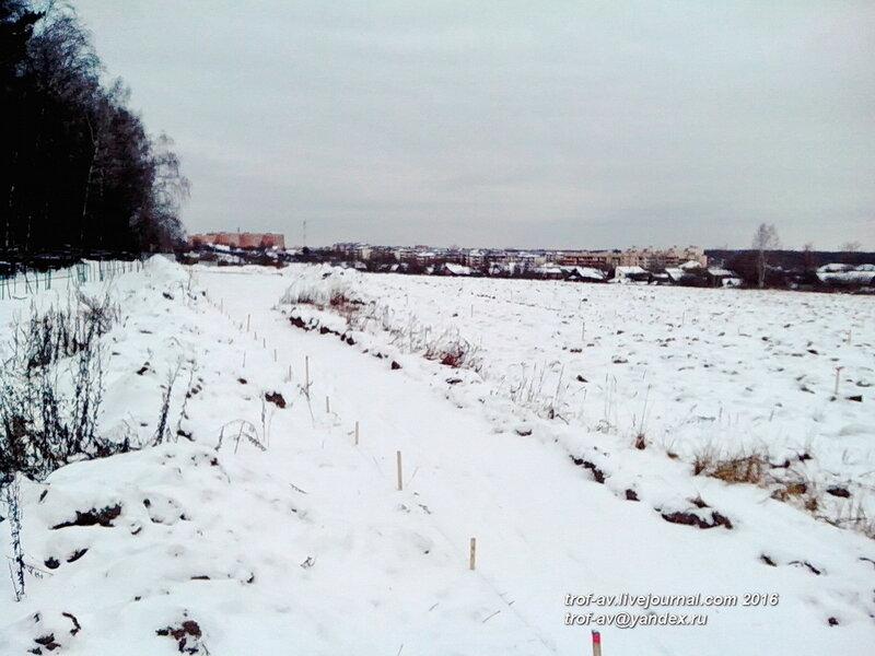 Зачищенную территорию засыпало снегом, охранные раскопки в Кубинке, январь 2016