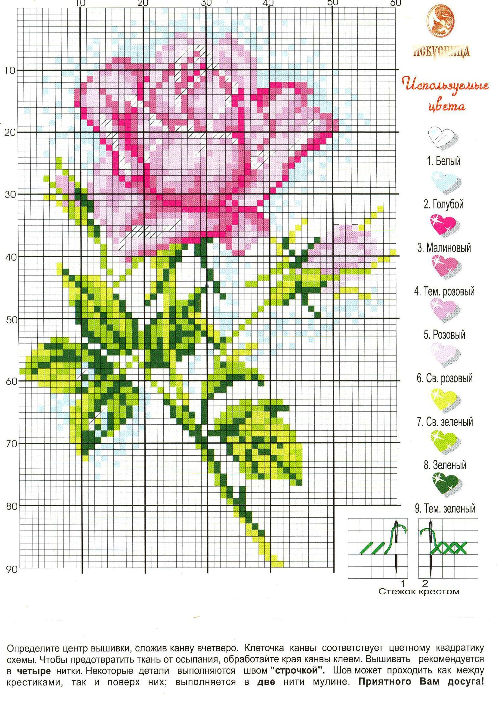 Схема вышивки - Розочка