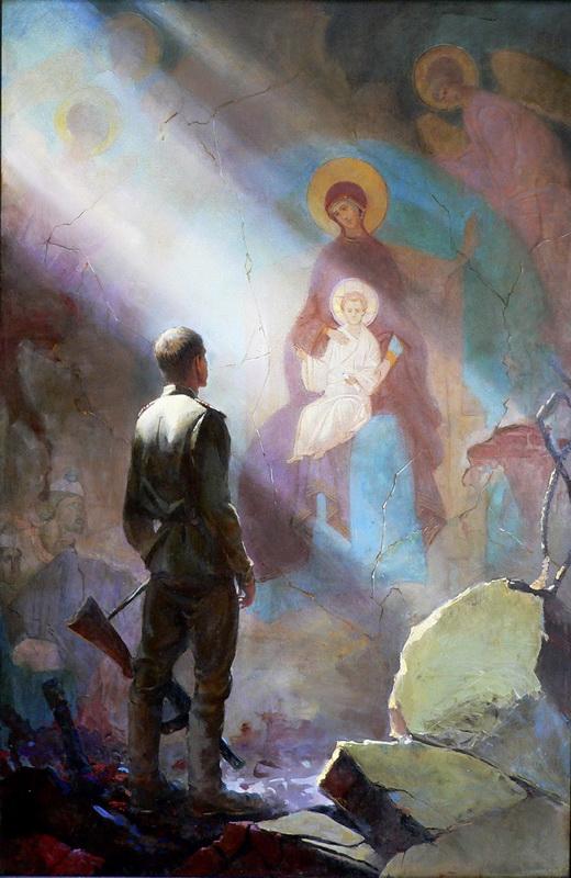 Картина художника Юрия Андреева Призыв Македонянина дипломная работа в худ училище 150х90 resize jpg