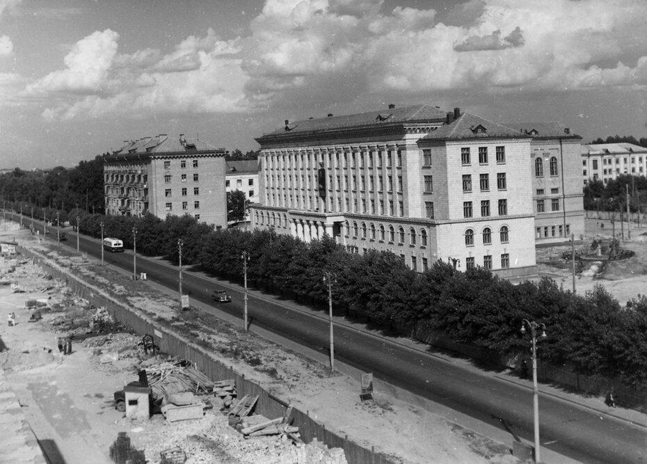 1957.06.23. Панорама Воздухофлотского шоссе (теперь Воздухофлотский проспект) в районе Севастопольской площади. Фото: Примаченко А.