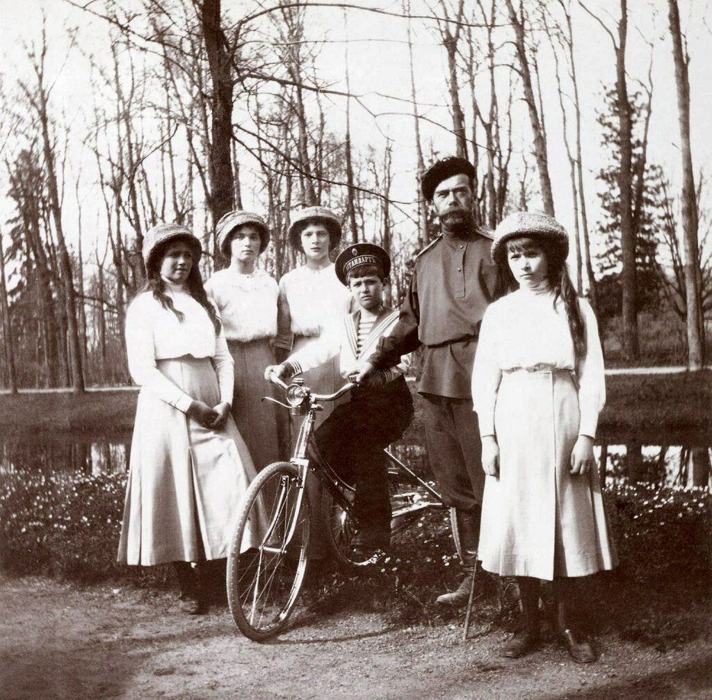 Nicholas II with his children at Alexandrovsky Park, Tsarskoe Selo, 1913