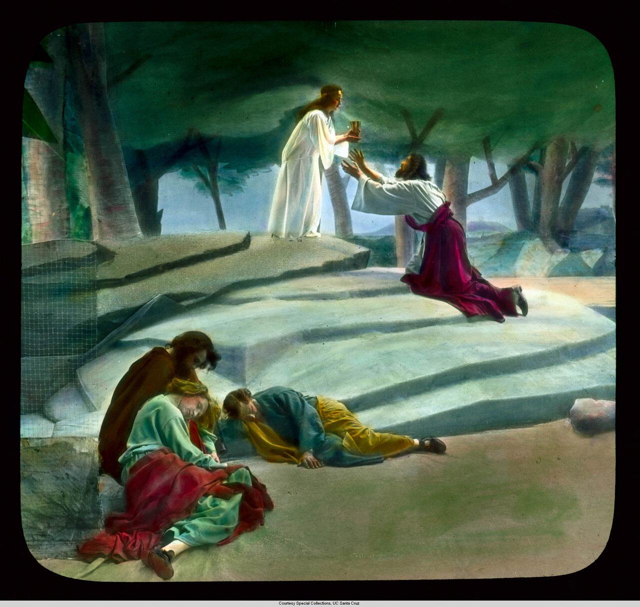 Обераммергау.  Страсти Христовы: сцена в Гефсиманском саду. Постановка 1930 г.