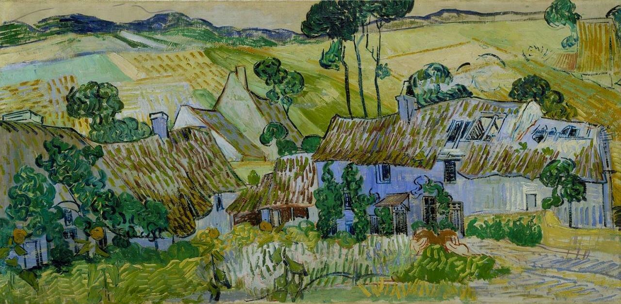 Фермы возле Овера (также: Дома крытые соломой у холма.)1890, июнь,  Ван Гог (1853-1890)1280 оригинальный Тейт