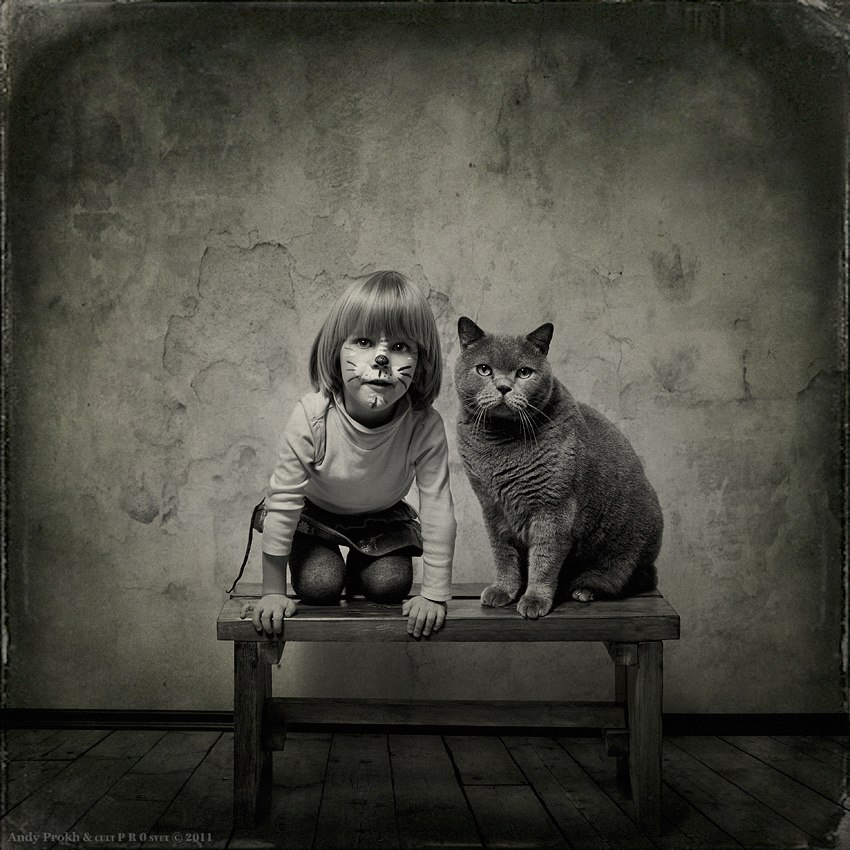 Little girl and Tomcat