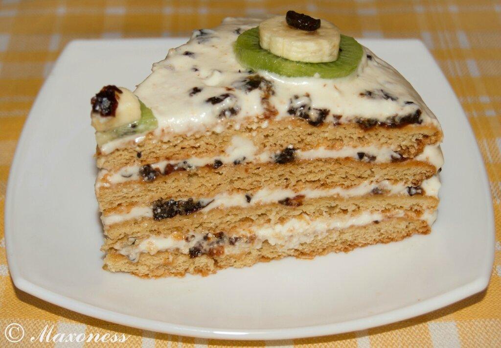 Медовый торт с фруктами. Белорусская кухня
