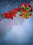 Niebieskie Е›wiД…teczne tЕ'o z kwiatami i dzwonkami