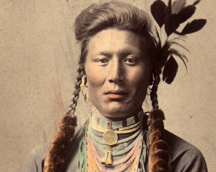 Старый Койот (или Желтый пес), племя кроу. Оригинал фотографии 1879 года, цветная ретушь 1910 го