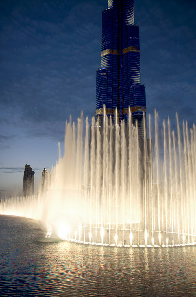 A grande fonte no Burj Khalifa.