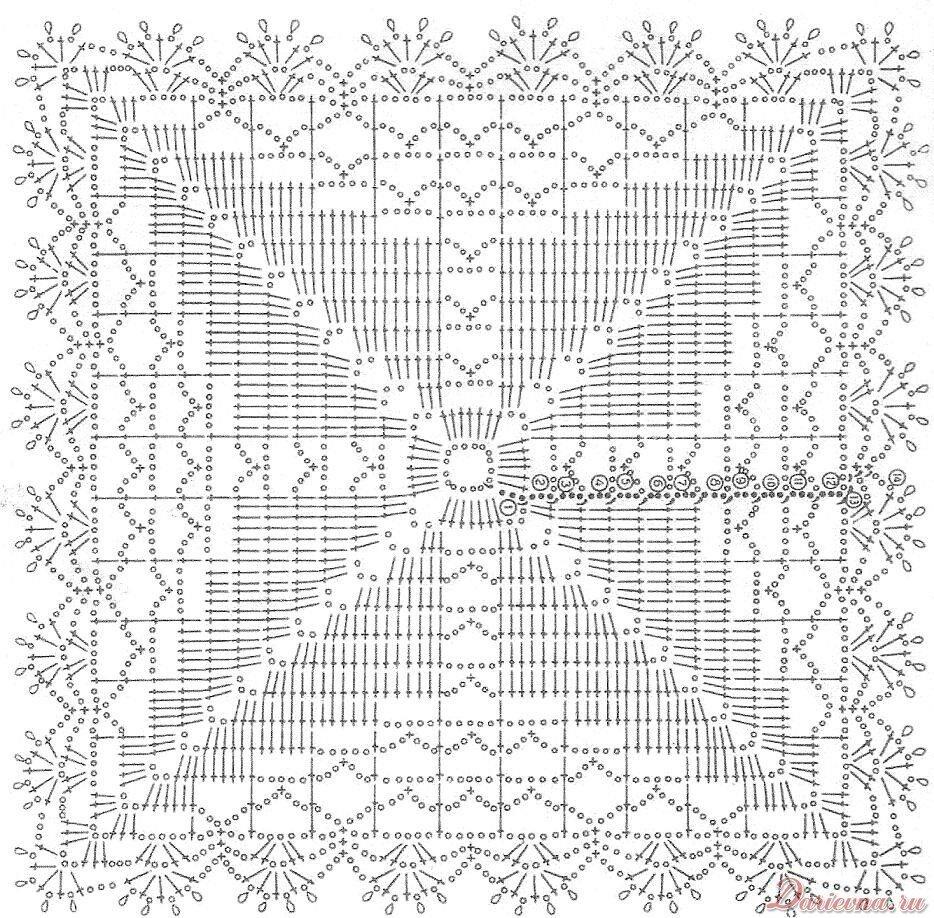 В приведенной схеме вязания скатертей своими руками крючком существует 7 квадратных мотивов, которые между собой...