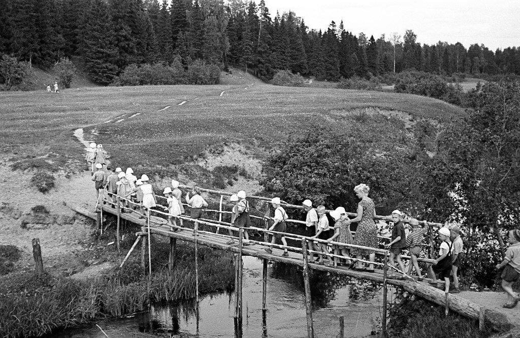 Дети переходят речку.
