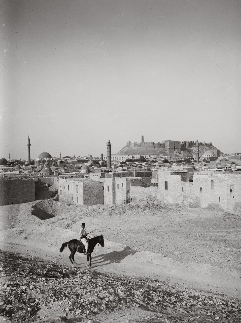 Алеппо и замок с юго-запада. Сирия. 1900-1920 гг.