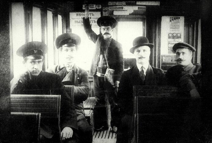 Passengers on a tram in Kharkov, c. 1900's.