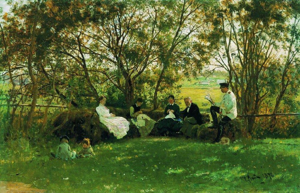 На дерновой скамье, 1876, Репин Илья Ефимович_1844-1930