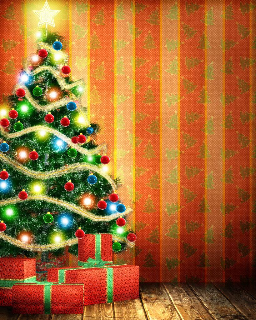 Эльфами, елка новогодняя на открытках