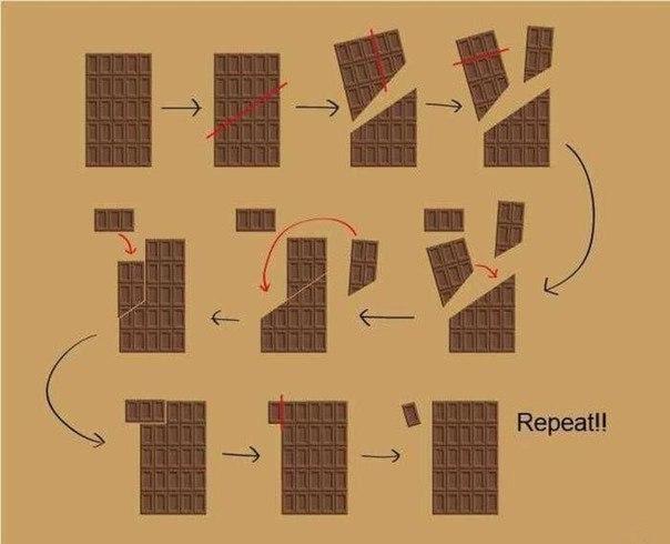 Как сделать бесконечную шоколадку? Разоблачение фокуса.