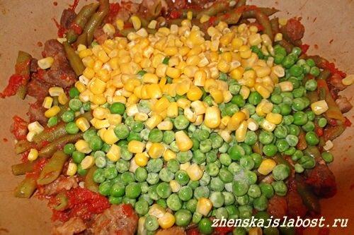 горошек и кукуруза для начинки