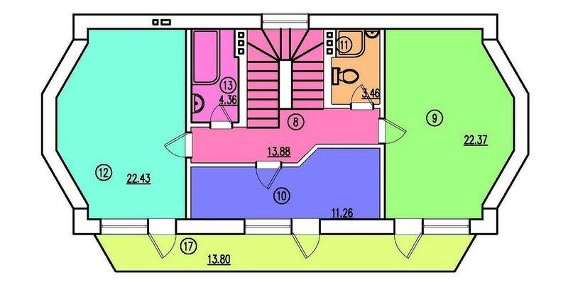Проект частного дома. План 2-го этажа