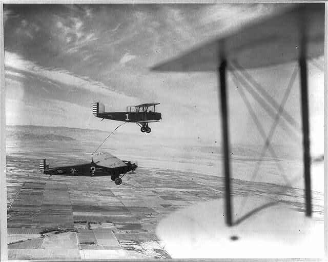 """""""Question Mark"""" plane refueling over Imperial Valley."""