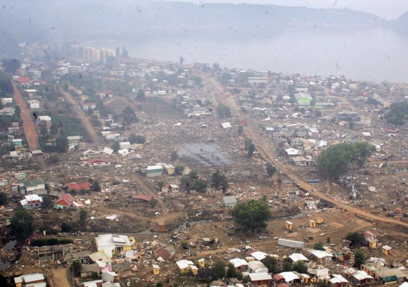 30. Дичато, Чили вид с неба 3 марта 2010. Несколько регионов Чили подверглись разрушениям, и сотни л