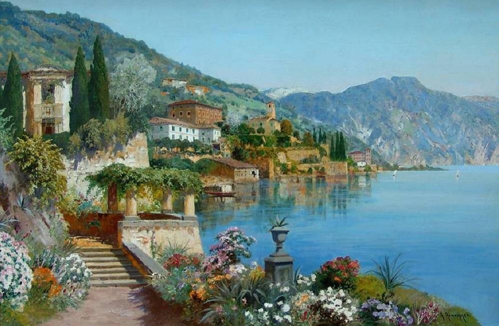 «Побережье Средиземного моря», художник Алоис Арнеггер (Alois Arnegger).