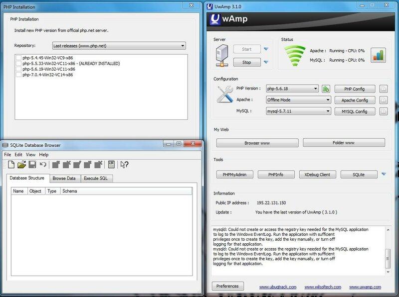 UwAmp - легкий web - сервер для windows