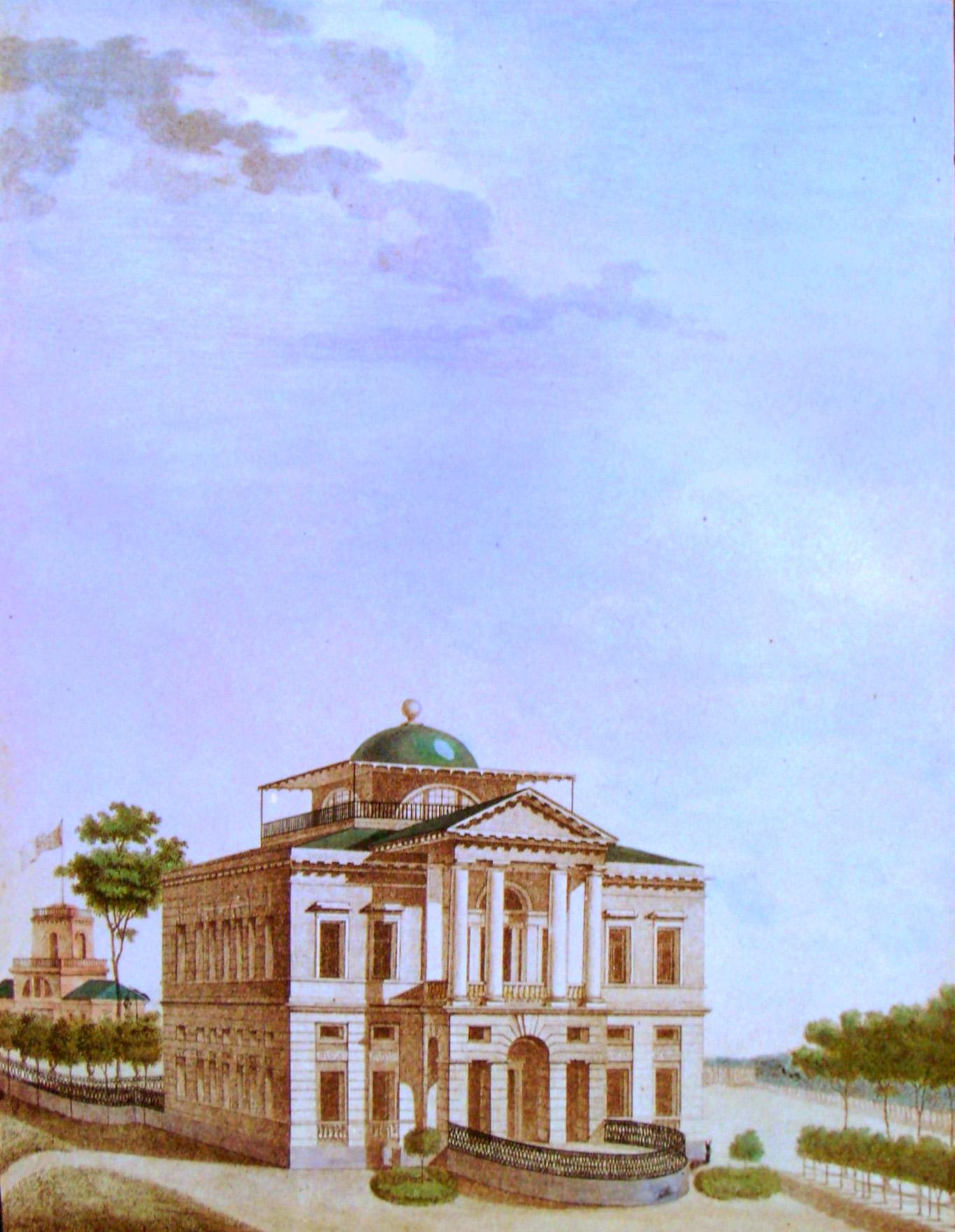 16. Вид каменного дома в саду. Р<исовал> А. П. Павловский в 1823 году.
