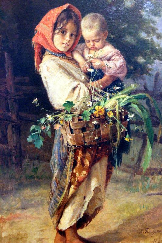 Х.П. Платонов. 1886 г. Холст, масло.Наймичка