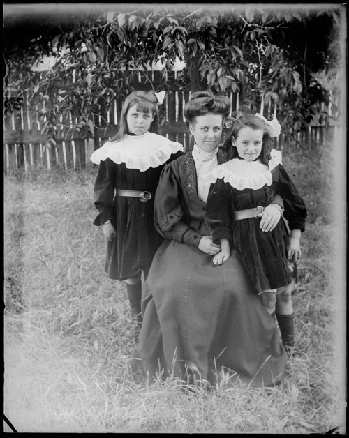 Mrs Jessie Gabriel with her two daughters by previous marriage, Gundagai, New South Wales.jpg