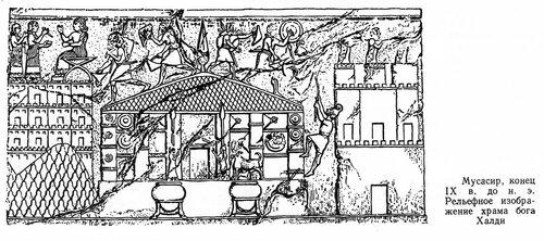 Изображение Храма Халди в Арни-берд, сохранившееся на рельефе